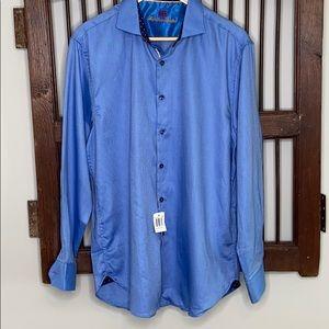 MICHELELSONS LONDON DRESS SHIRT BLUE FANCY TWILL L